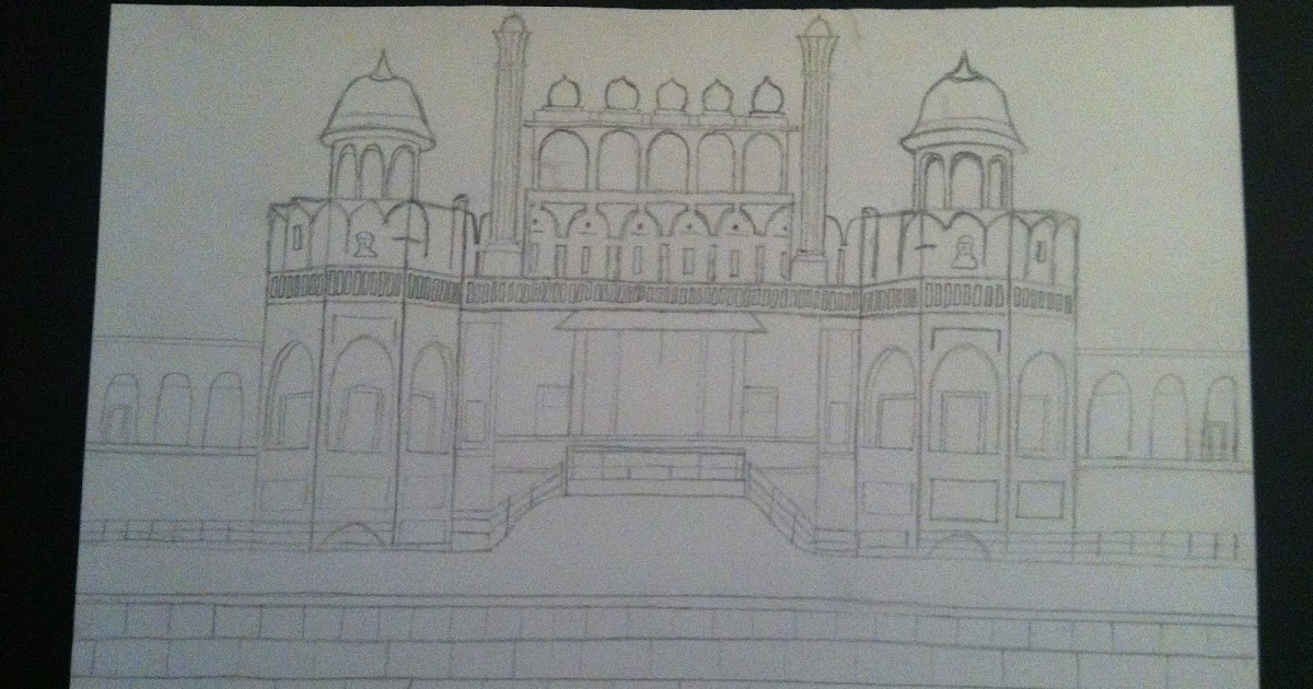 How To Draw Red Fort For Kids