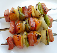 ham and peach shish-ka-bobs