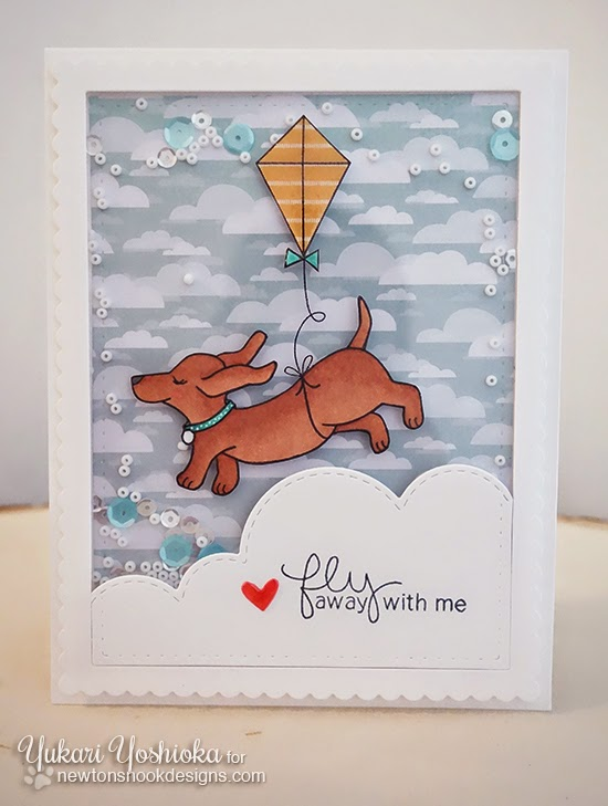 Dachshund with Kite Card by Yukari Yoshioka | Delightful Doxies Stamp set by Newton's Nook Designs