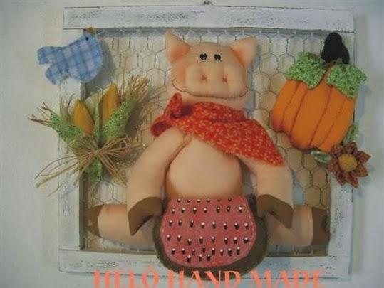 Moldes porquinho de tecido