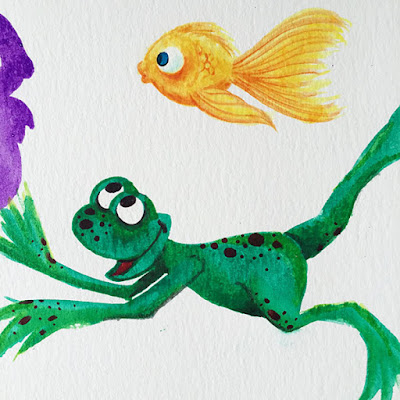 Happy green frog and goldfish painting in watercolors