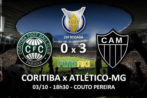 Veja o resumo da partida com os gols e os melhores momentos de Coritiba 0x3 Atlético-MG pela 29ª rodada do Brasileirão 2015.