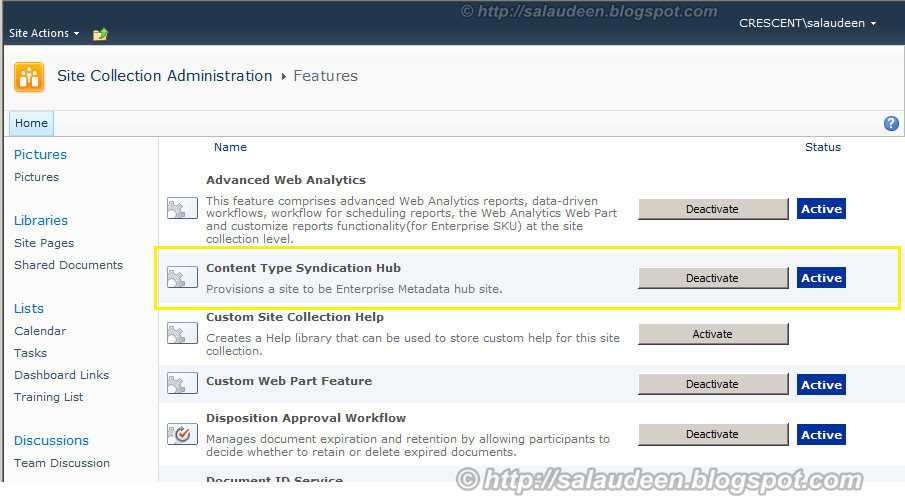 activate content type hub feature in SharePoint 2010