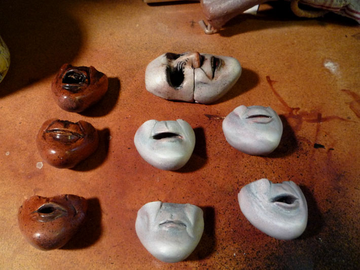Painted Replacement Faces, Stopmotion Puppet © 2012 Jeff Lafferty