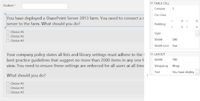 SharePoint questionnaire form for trainees