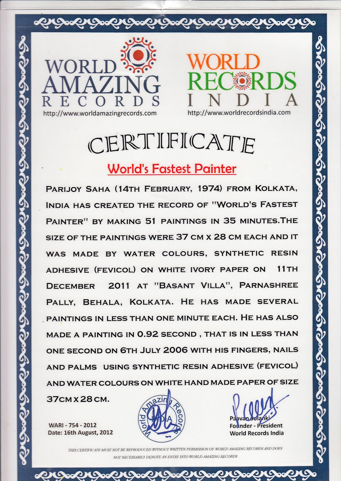 World Record Certificate World's Fastest Painter