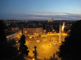 Sunset view of Piazza del Popolo and St. Peter's Dome from the hilly Pincio.