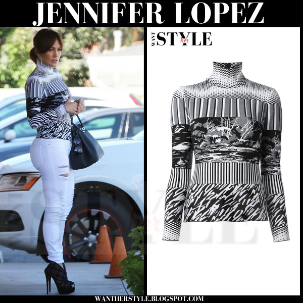 Jennifer Lopez in white and black print high neck Balenciaga sweater what she wore streetstyle