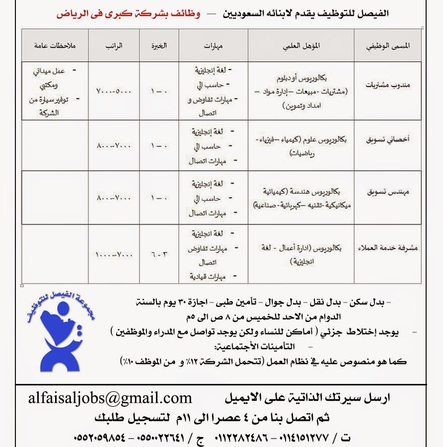 وظائف بشركة بالرياض للسعوديين مشرفة