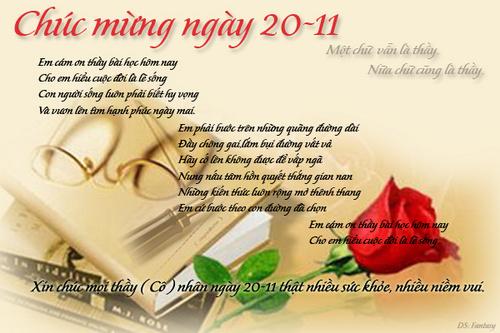 Thơ chúc thầy cô nhân ngày 20-11
