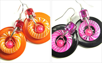 Bright earrings combine swirl donut shaped beads, accent beads and big buttons