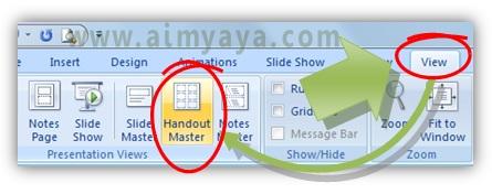 Gambar:  Cara mengedit   handout master di powerpoint