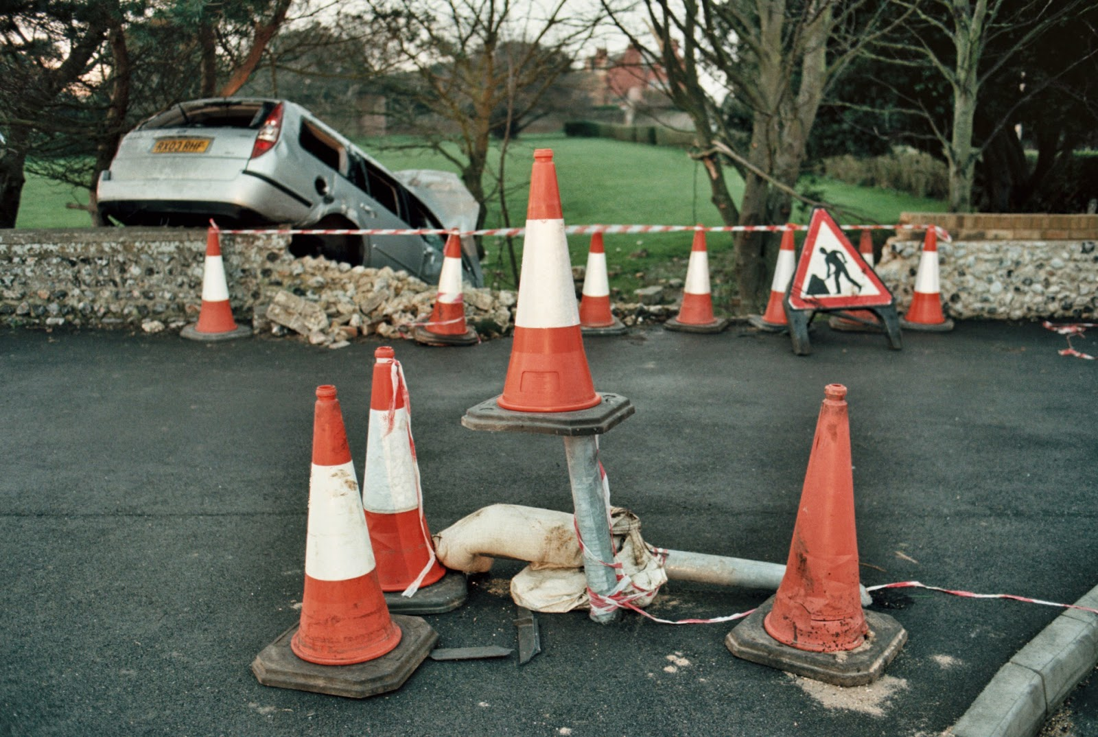 ROAD SAFETY, JOY RIDING, HIGHWAY CODE, ROAD TRAFFIC ACCIDENT, MEN AT WORK, TRAFFIC CONES, INCIDENT TAPE, DRUNKEN DRIVING, STONE WALLS, VEHICLE RECOVERY, EMERGENCY SERVICES,  RAMSGATE, KENT  © VAC 100 DAYS 4 MILLION CONVERSATIONS