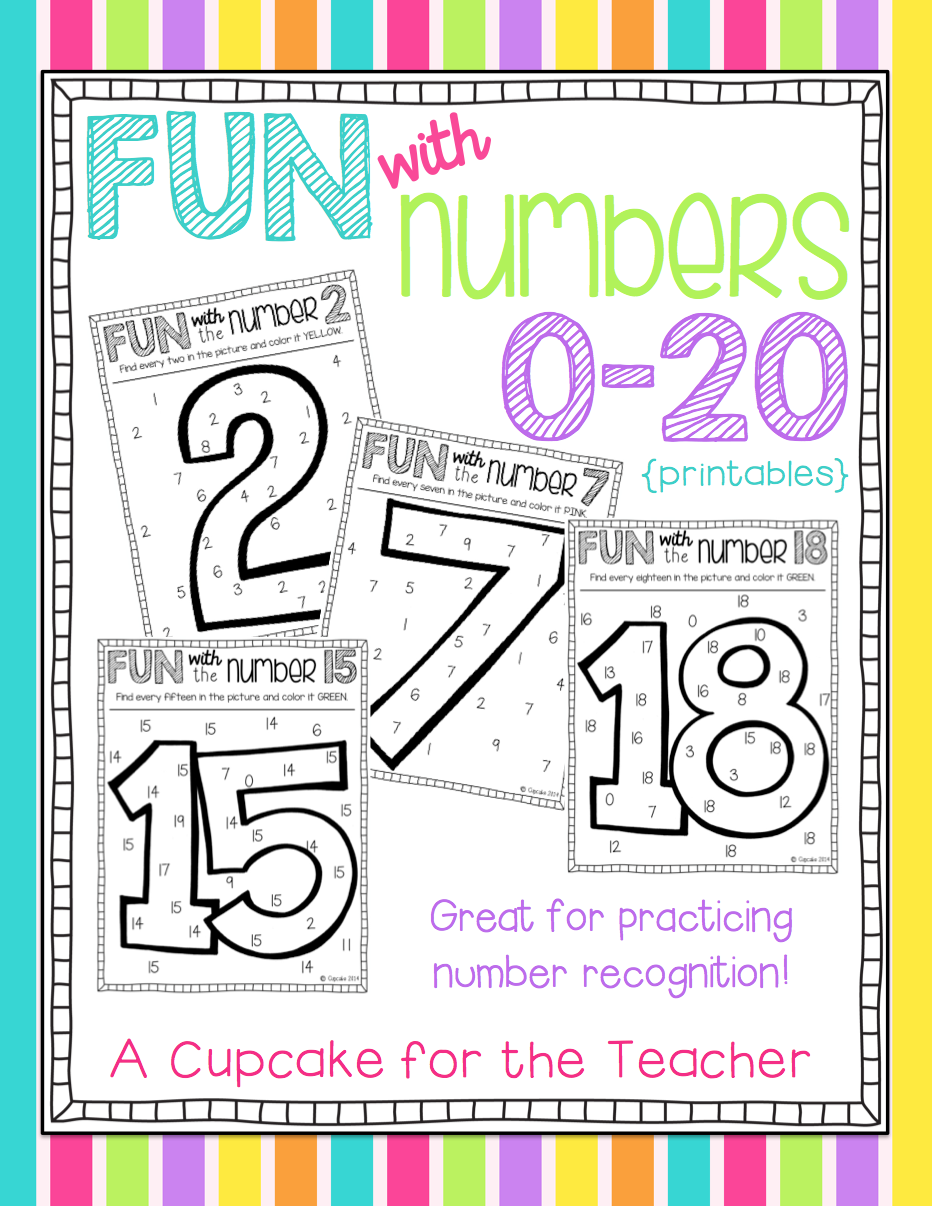 fun with numbers 0 20 printables a cupcake for the teacher