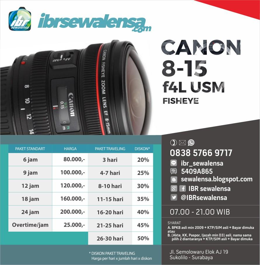 Canon 8-15mm F4 L USM Fisheye Harga Sewa Rental Lensa Kamera