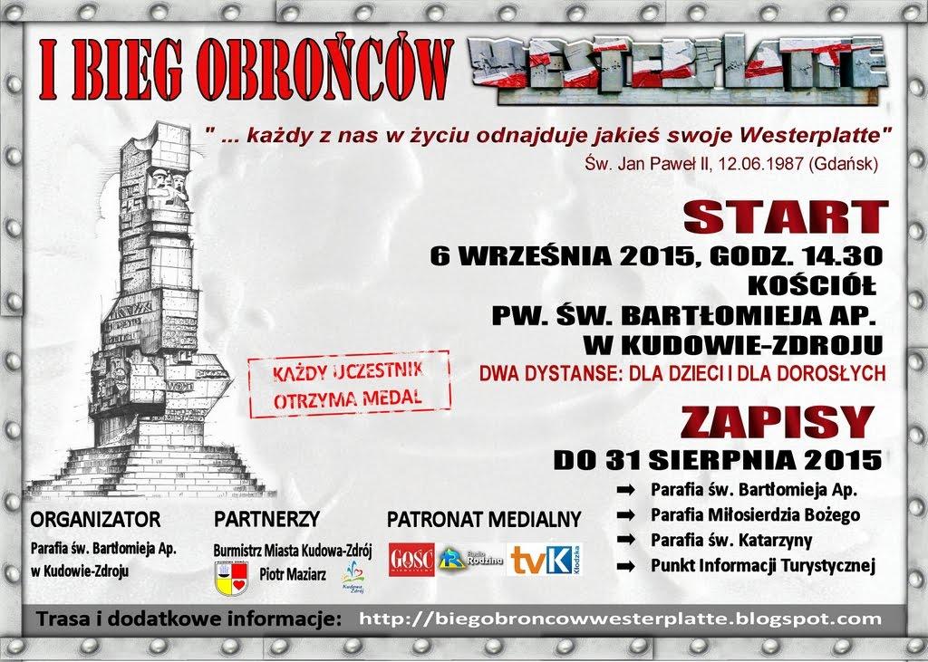 Plakat I Biegu Obrońców Westerplatte w Kudowie-Zdroju