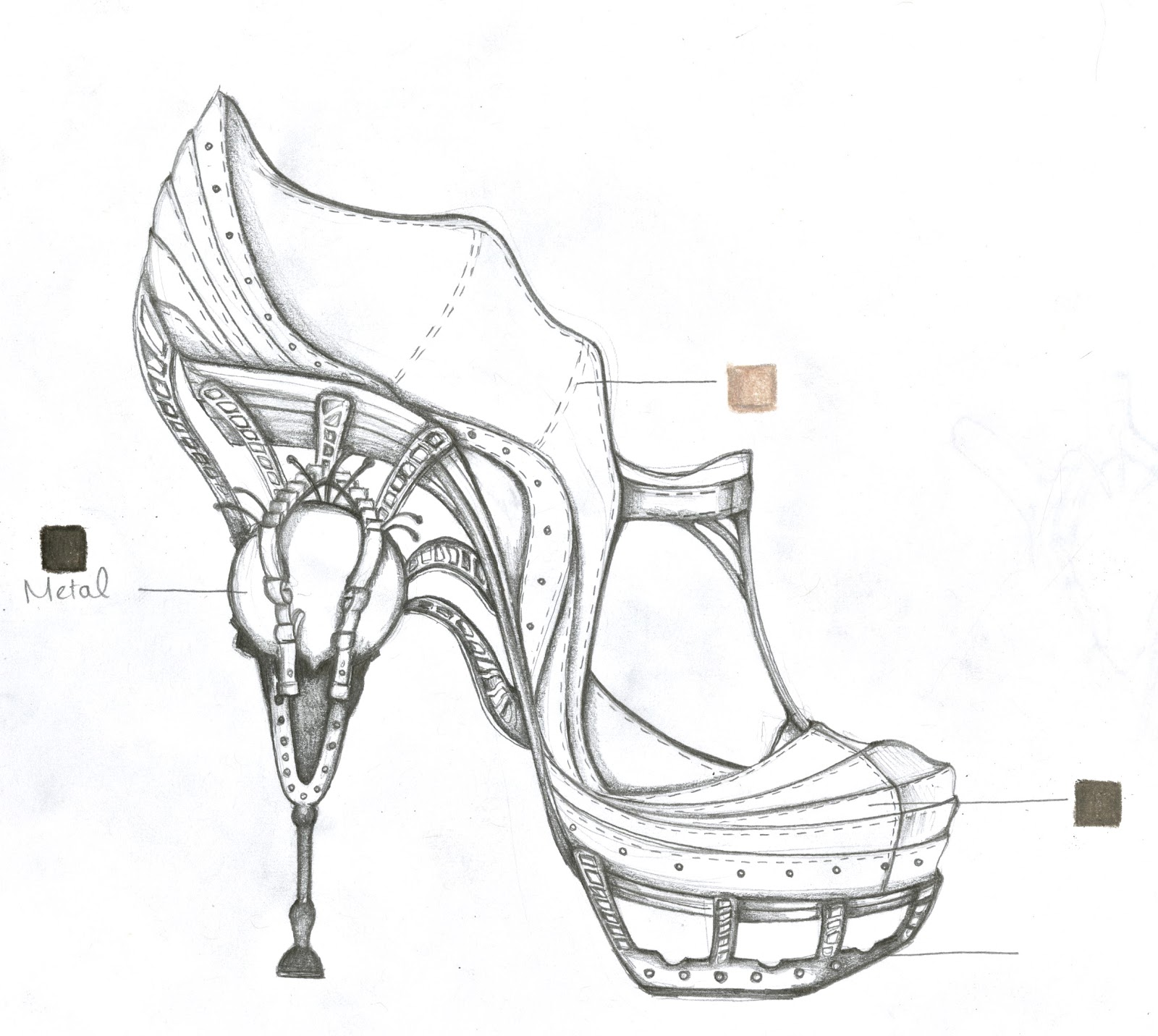 ophilya graphite sketches of concept shoes