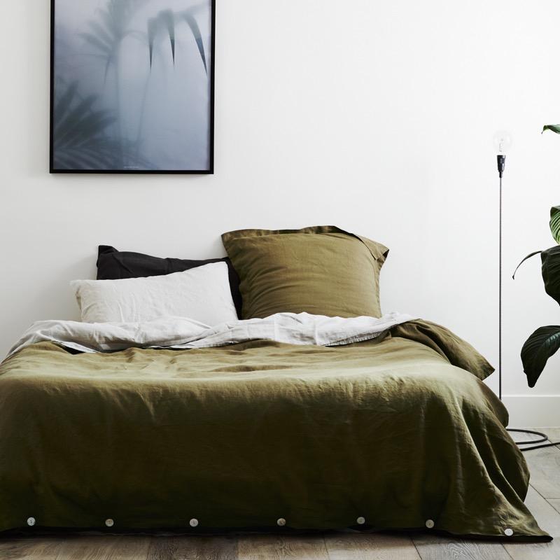 oliivin vihreä pellavapussilakana