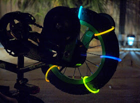 Place glow sticks around bike wheels and see what happens!
