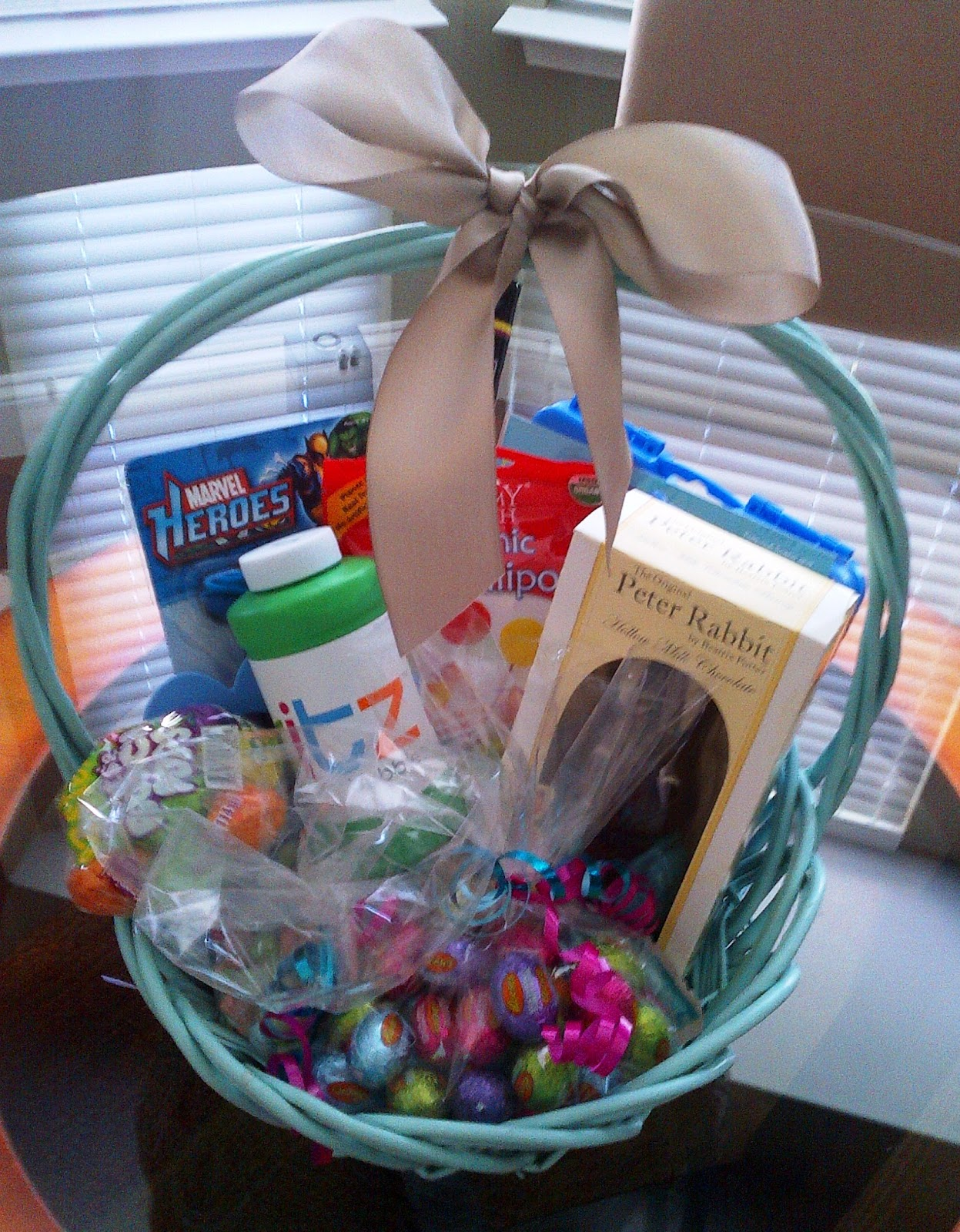 Personalized solutions the perfect easter basket gift basket the 3 year old boys basket we have super hero pens an etch a sketch lollipops chocolates sweet tarts bubbles a chocolate rabbit and silly straws negle