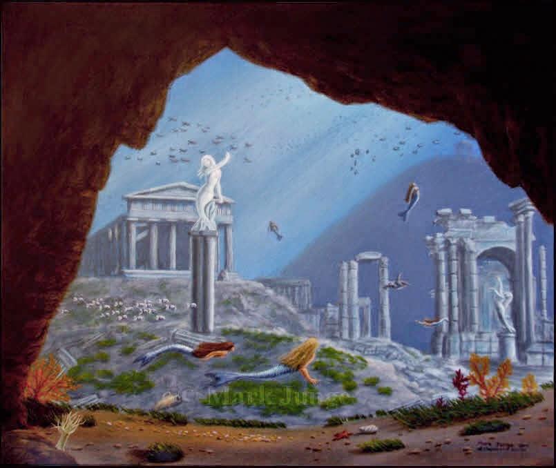 mermaid,mermaids,Atlantis,sunken city,underwater,ruins,fantasy art,classical ruins