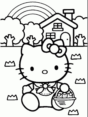Online Gallery Of Printables Offering Great Collection Hello Kitty Easter Coloring Pages Surrounded With Cartoon Holding Eggs Basket