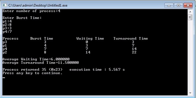 C Program for Shortest Job First (SJF) Scheduling Algorithm
