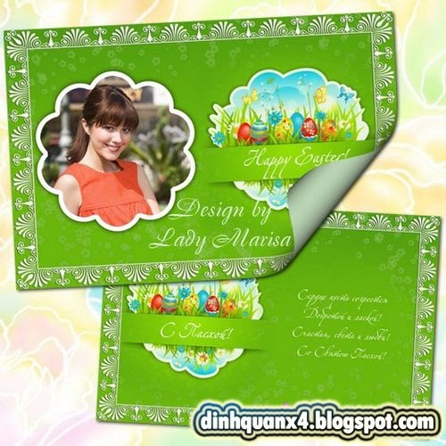 Greeting set – card and photoframe – Happy Easter