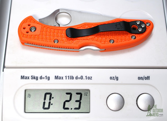 Numbered Spyderco Orange Delica 4 - On Scale