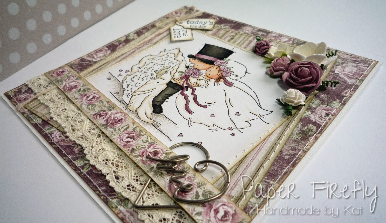 Romantic vintage style wedding card with cute wedding couple