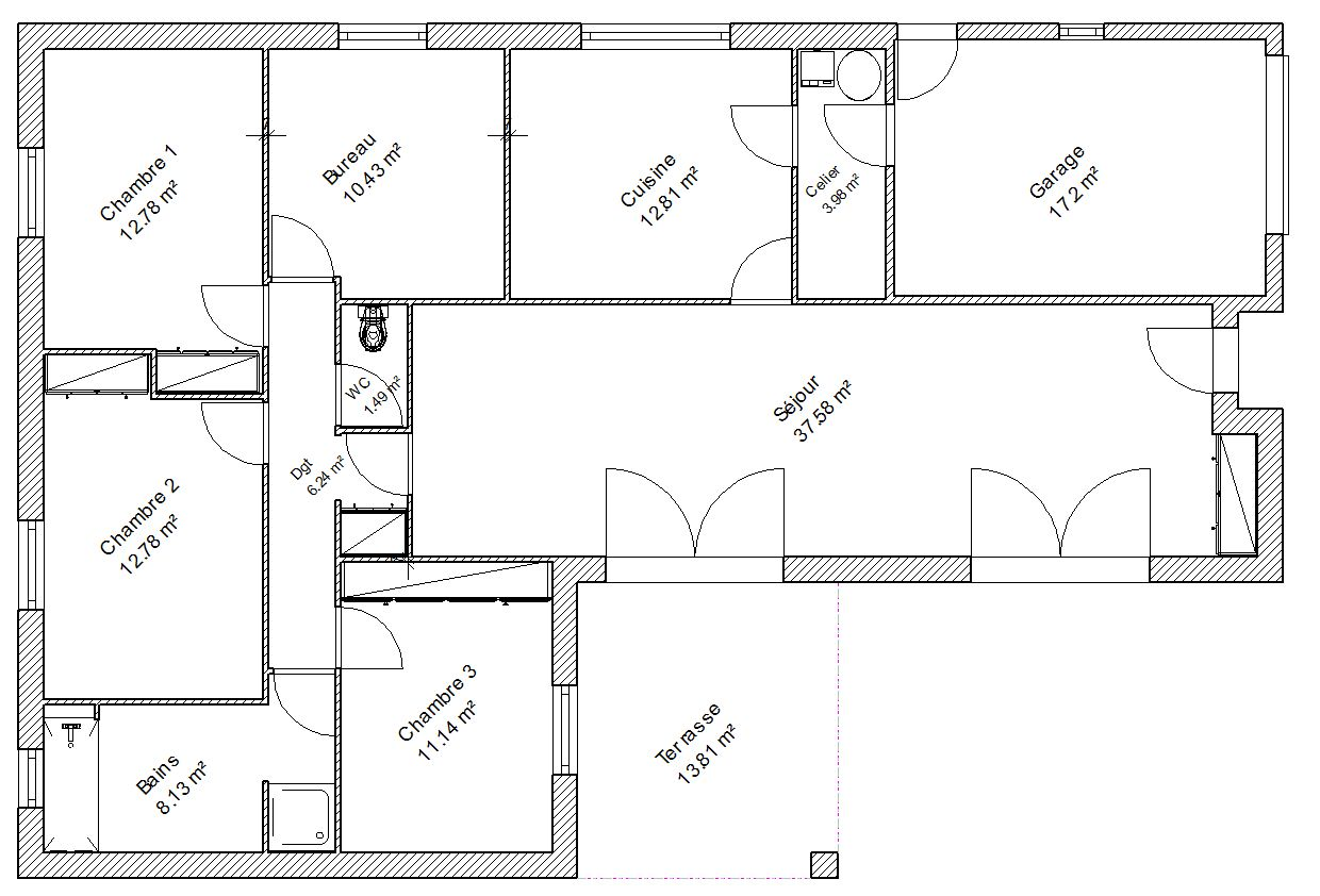 Plan de maison simple 4 chambres for Plan plain pied 5 chambres