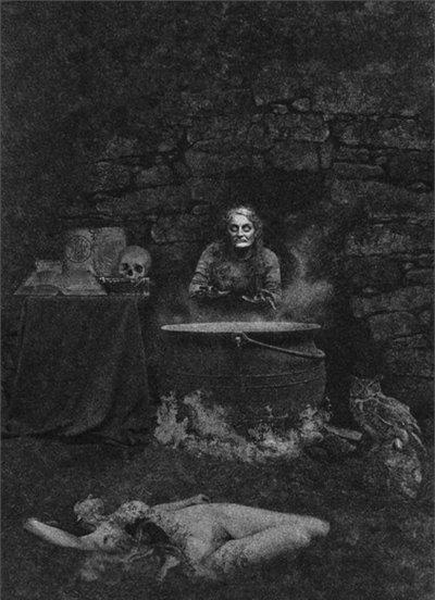 bruja junto a caldero