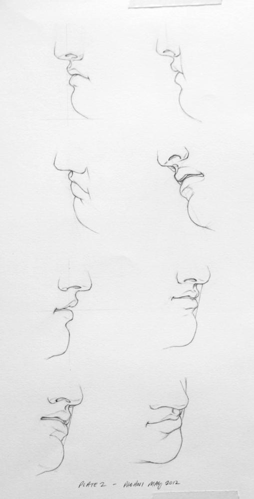 plate 2 mouths noses bargue gérôme drawing course