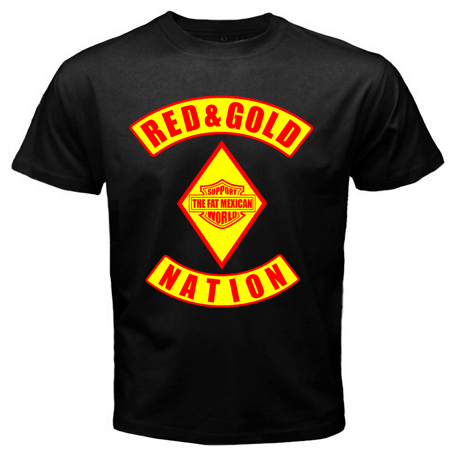 Red and Gold Nation Black T-shirt One Side