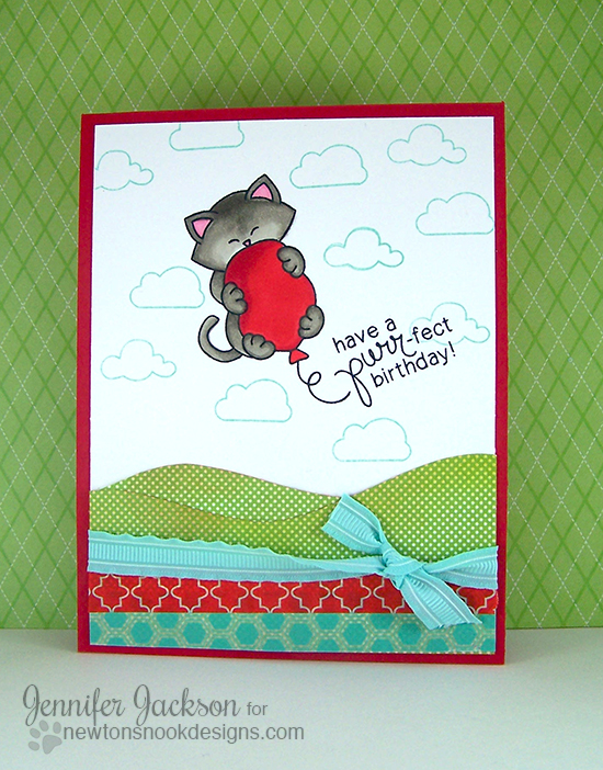 Cat & Balloon Birthday Card  | Newton's Nook Designs