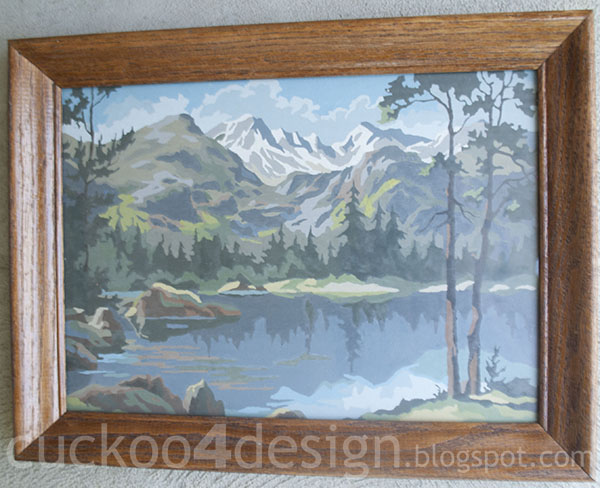 vintage paint by numbers mountain lake lanscape