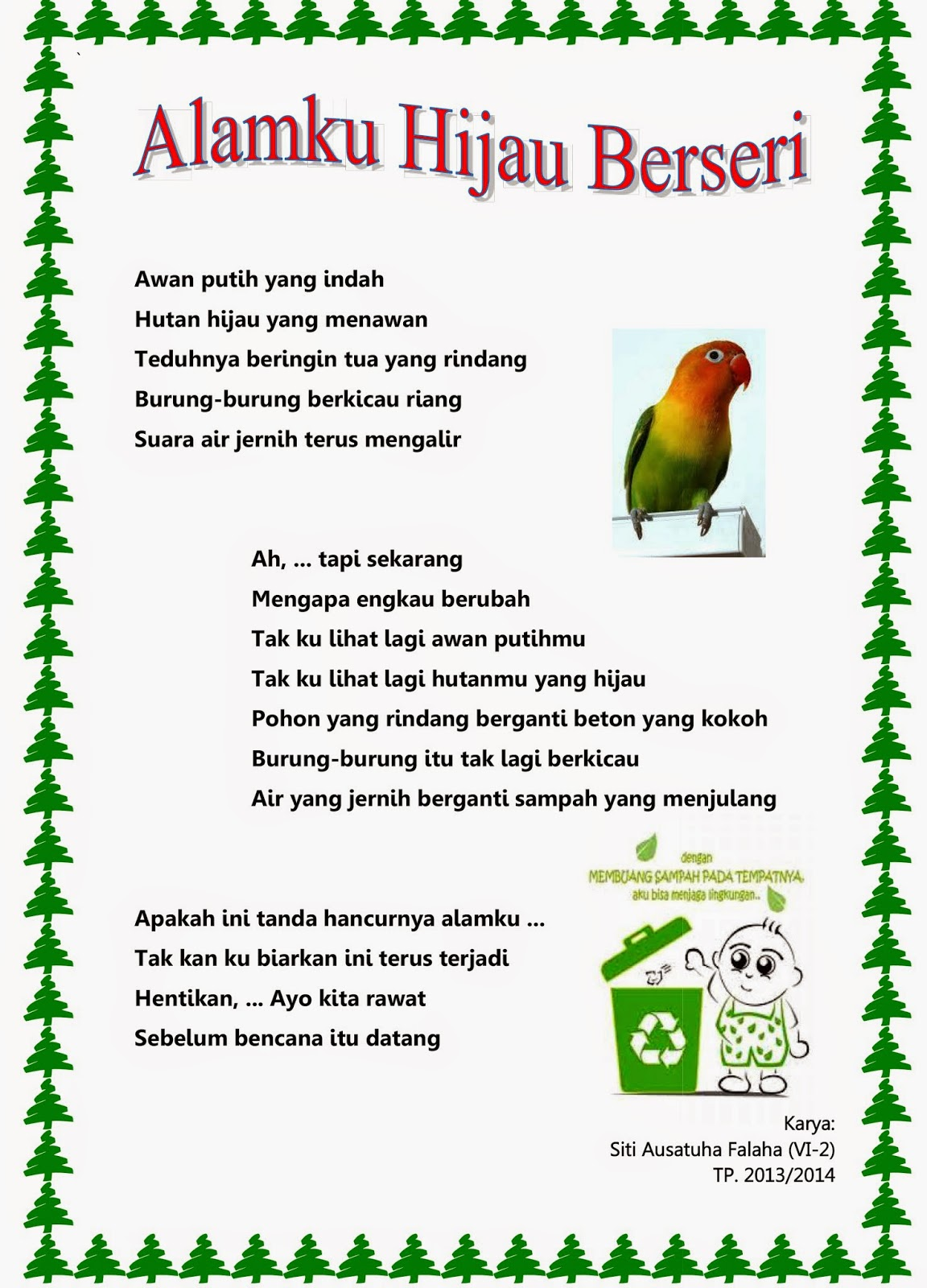 contoh teks puisi lingkungan sekolah