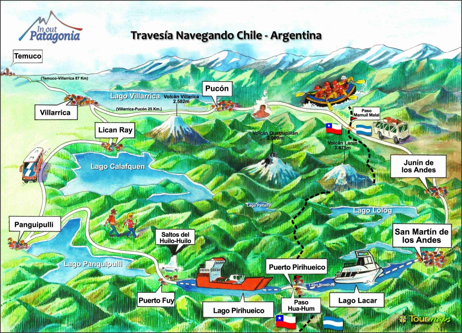 Chile turismo mapa for Mapa de santiago de chile