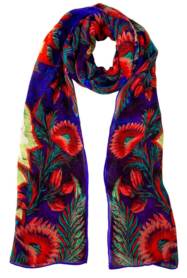 blue red scarf, artistic scarf, silk scarf, printed scarf, roberto cavalli, accessories, 2014, autumn winter collection, fashion scarf
