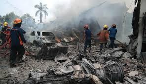 kecelakaan pesawat hercules C130 jatuh di kota medan