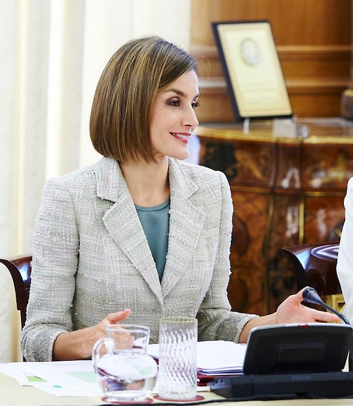 Queen Letizia and Queen Sofia attend a meeting with members of foundation against drugs, the FAd Fundacion Ayuda contra la Drogadiccion