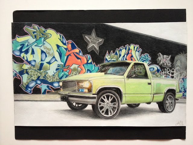 Truck, Chevy, Lime green truck, graffiti, drawing, art, pencil crayon