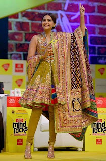 Sonam Kapoor yesterday as a speaker of the India Today Mind Rocks Summit in Delhi!