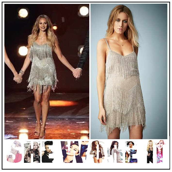 Alesha Dixon, Beaded, Britain's Got Talent, Dress, Embellished, Fringing, Kate Moss For Topshop, Metallic, Mini Dress, Silver, Sleeveless, Tiered, Topshop