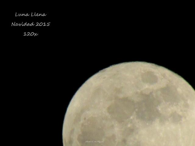 Cuarto superior de la Luna Llena en Navidad 2015 con el zoom 120x