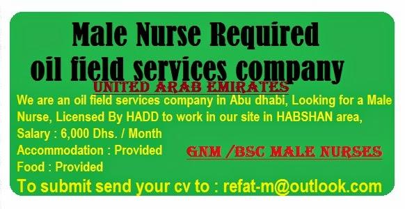 nurses job vacancy  gnm    bsc male nurses for abudhabi