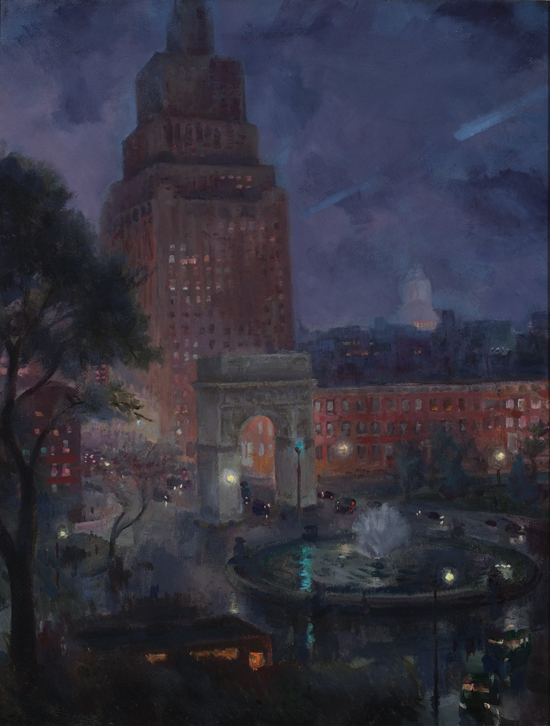 1928 Wet Night, Washington Square