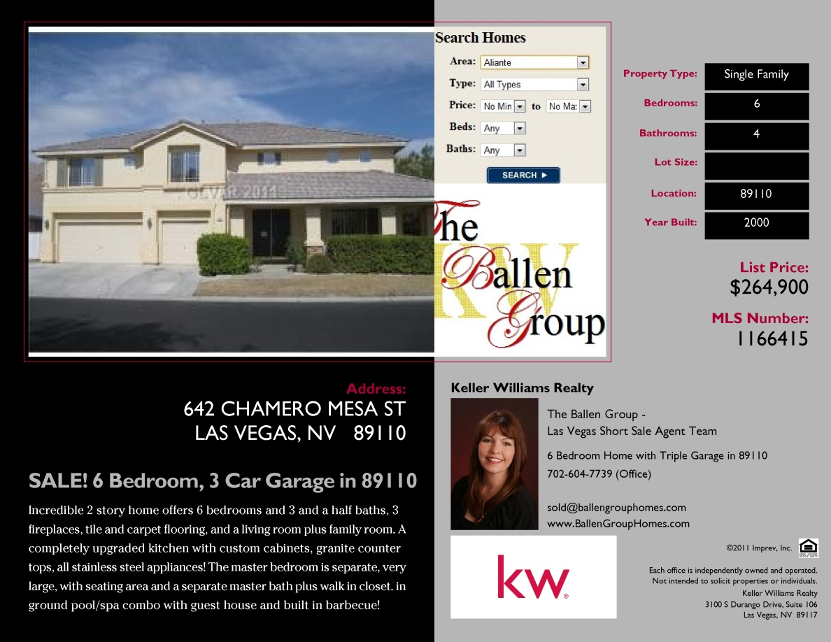 6 Bedroom Home For Sale In Las Vegas 89110 With3 Car Garage By Keller Williams The Ballen