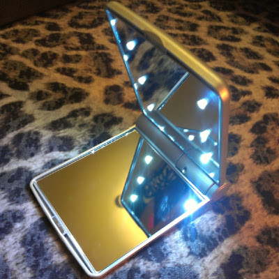 Pebble Grey LED Makeup mirror lit up open