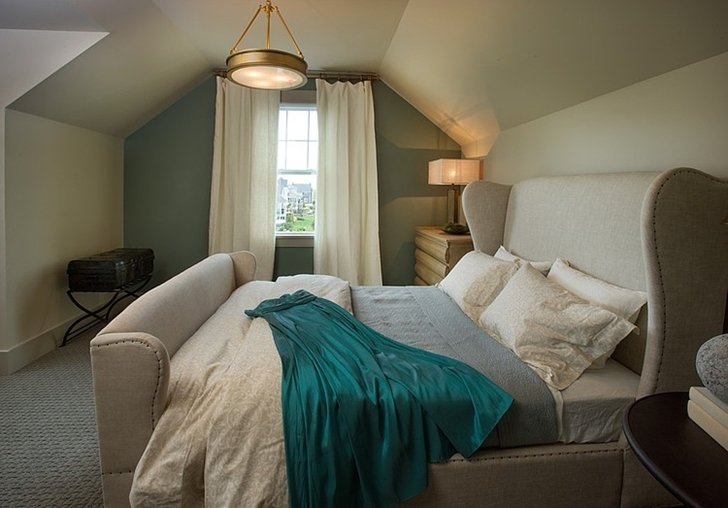 Green bedroom in Craftsman style home in Dublin, Ohio